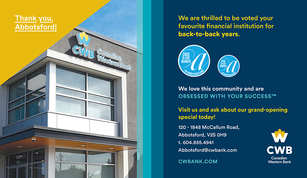 CWB Abbotsford voted favourite financial institution 2020